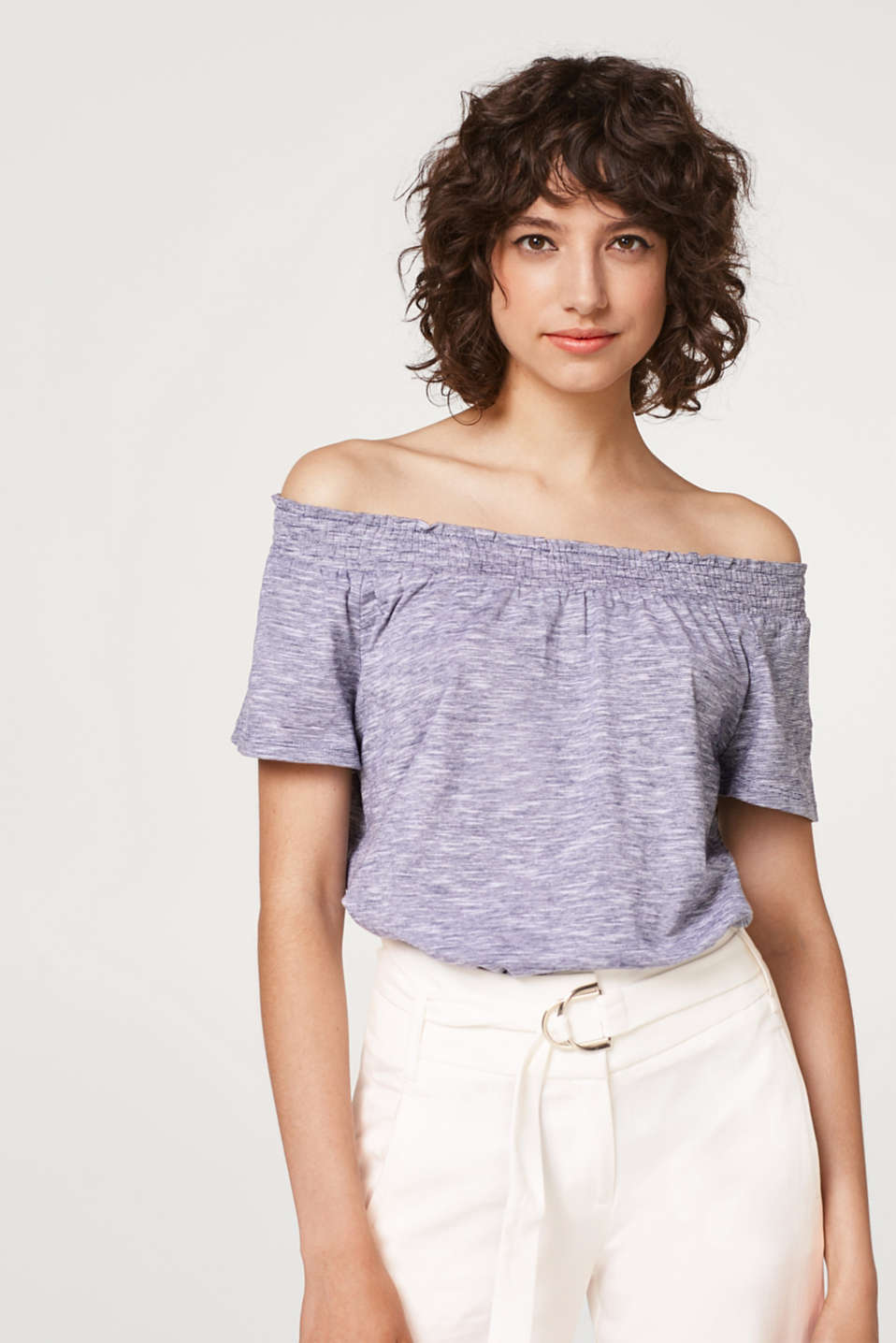edc - Melange T-shirt with an off-the-shoulder neckline
