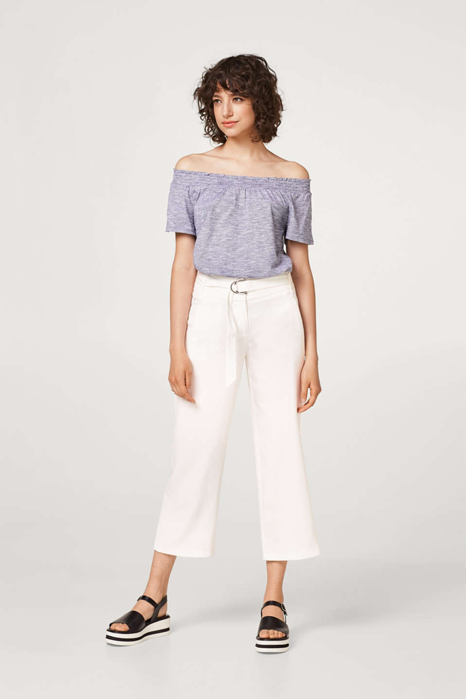 Melange T-shirt with an off-the-shoulder neckline