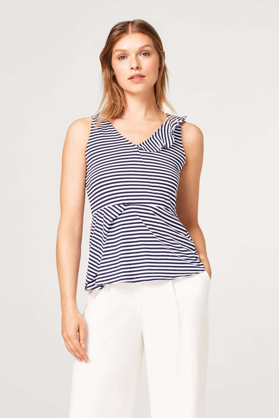 edc - Striped jersey top with frilled details