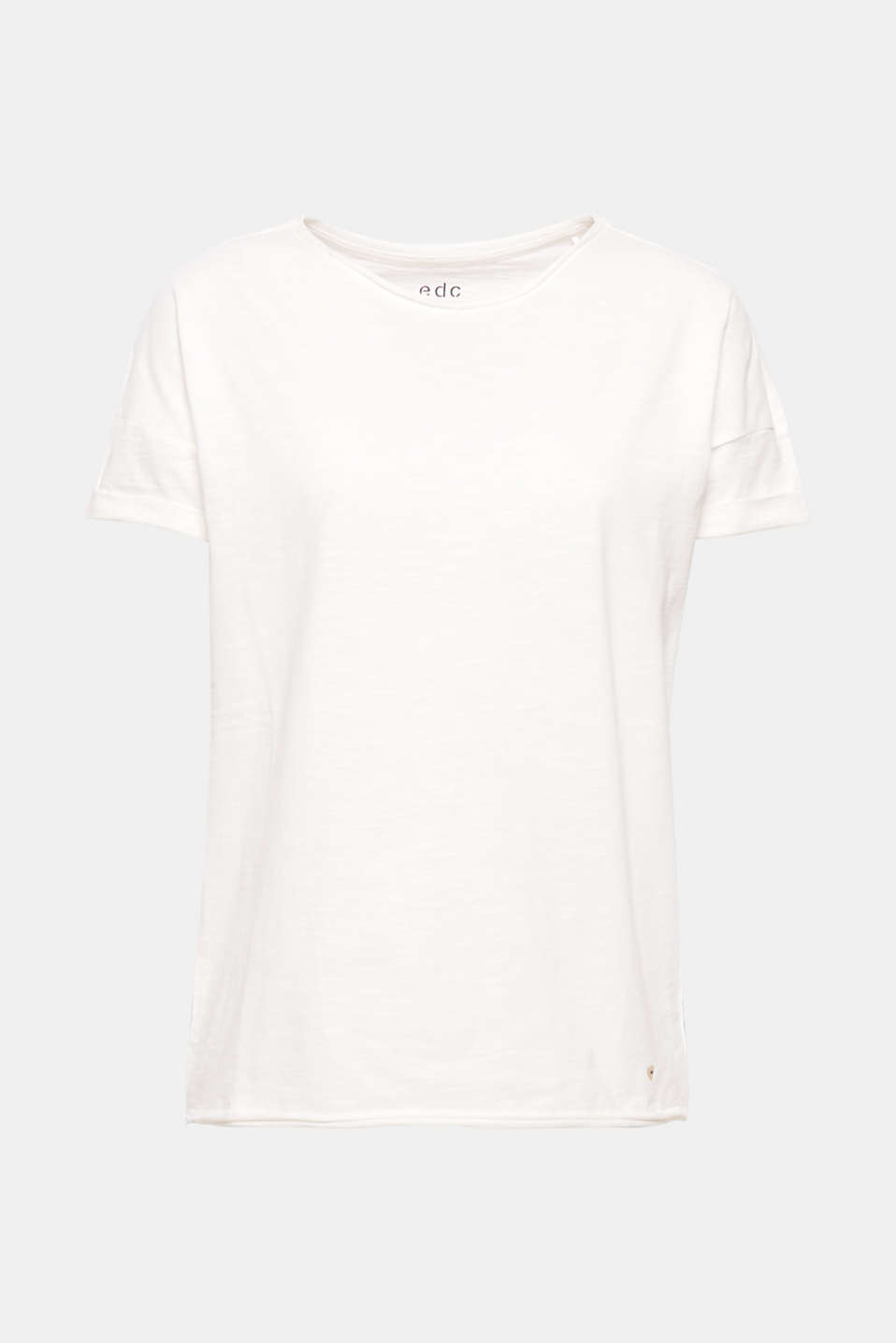 Airy, casual style all round! Fashionably melange and with casual rolled edges on the neckline and hem, this cotton T-shirt is a super-soft and versatile summer piece.
