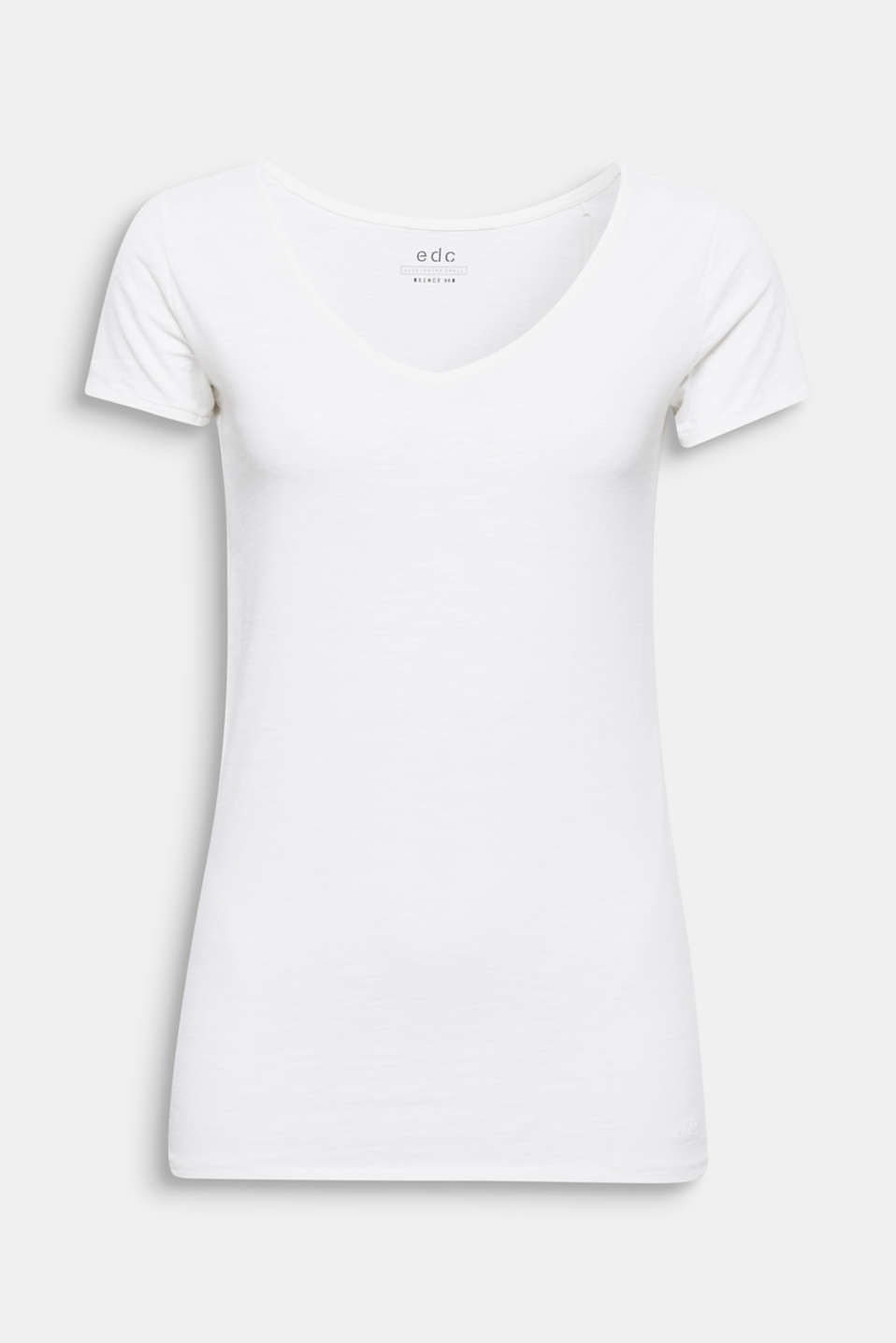 An excellent basic for summery style ideas! This slub T-shirt can be combined in many ways and has a charming look thanks to the V-neckline.