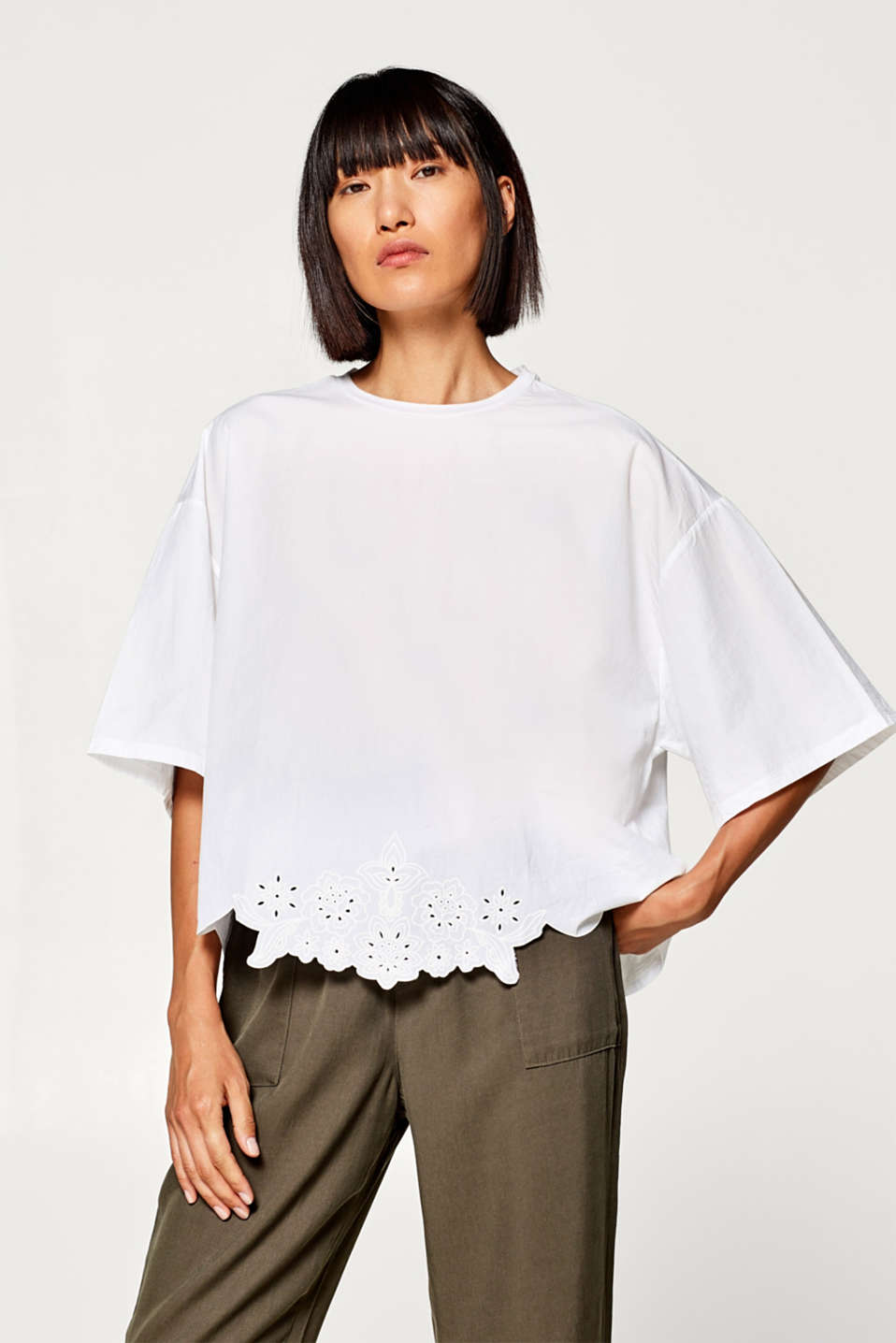 edc - Material mix top with a laser cut, 100% cotton