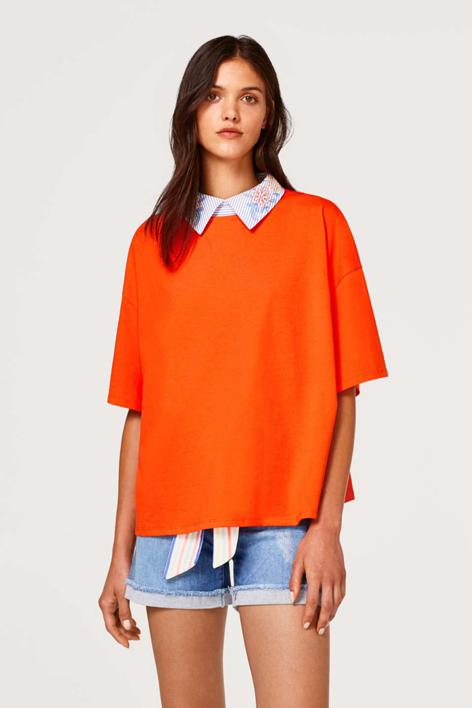 edc - Boxy T-shirt with a shirt collar, 100% collar
