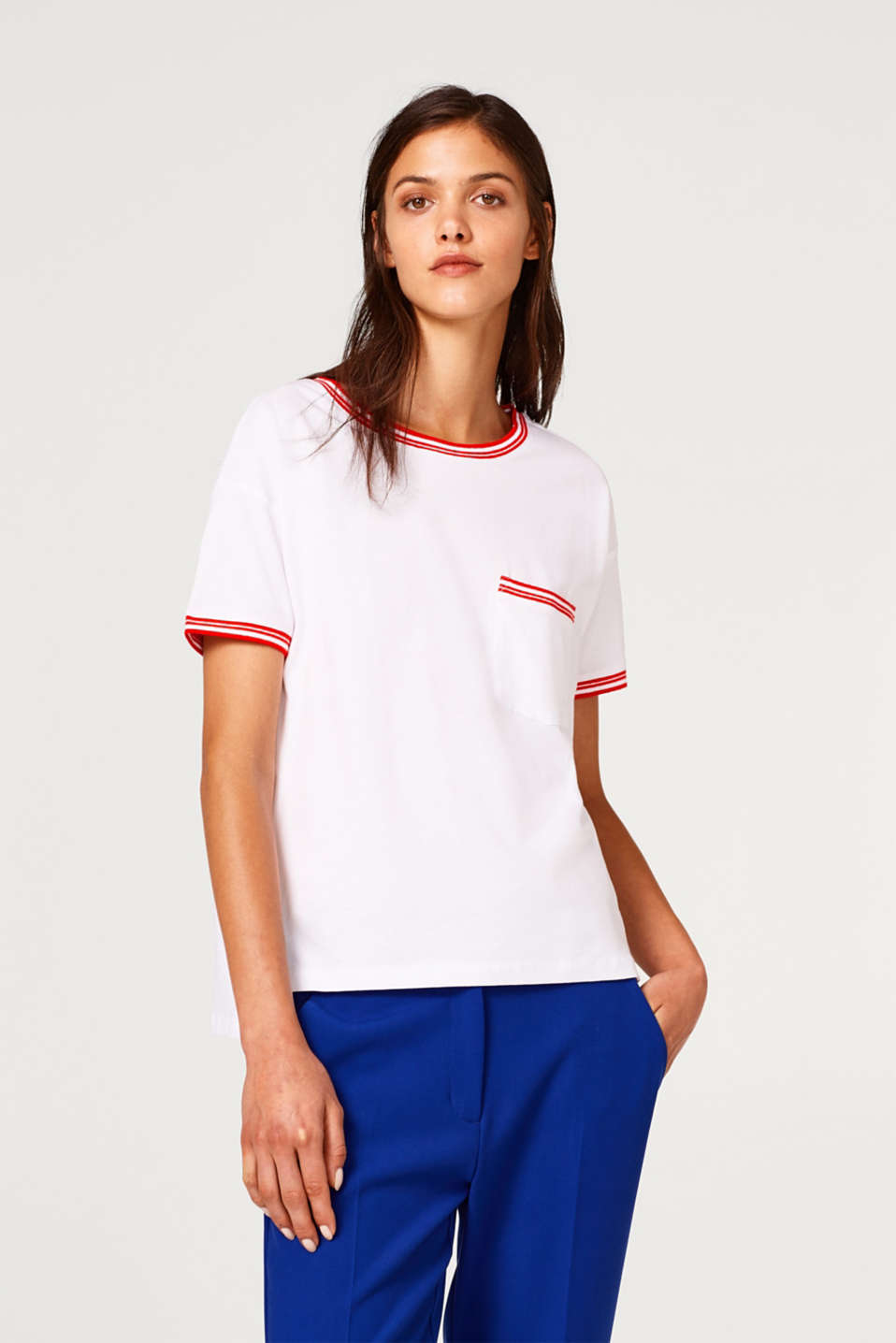 edc - Jersey T-shirt with striped ribbed trims