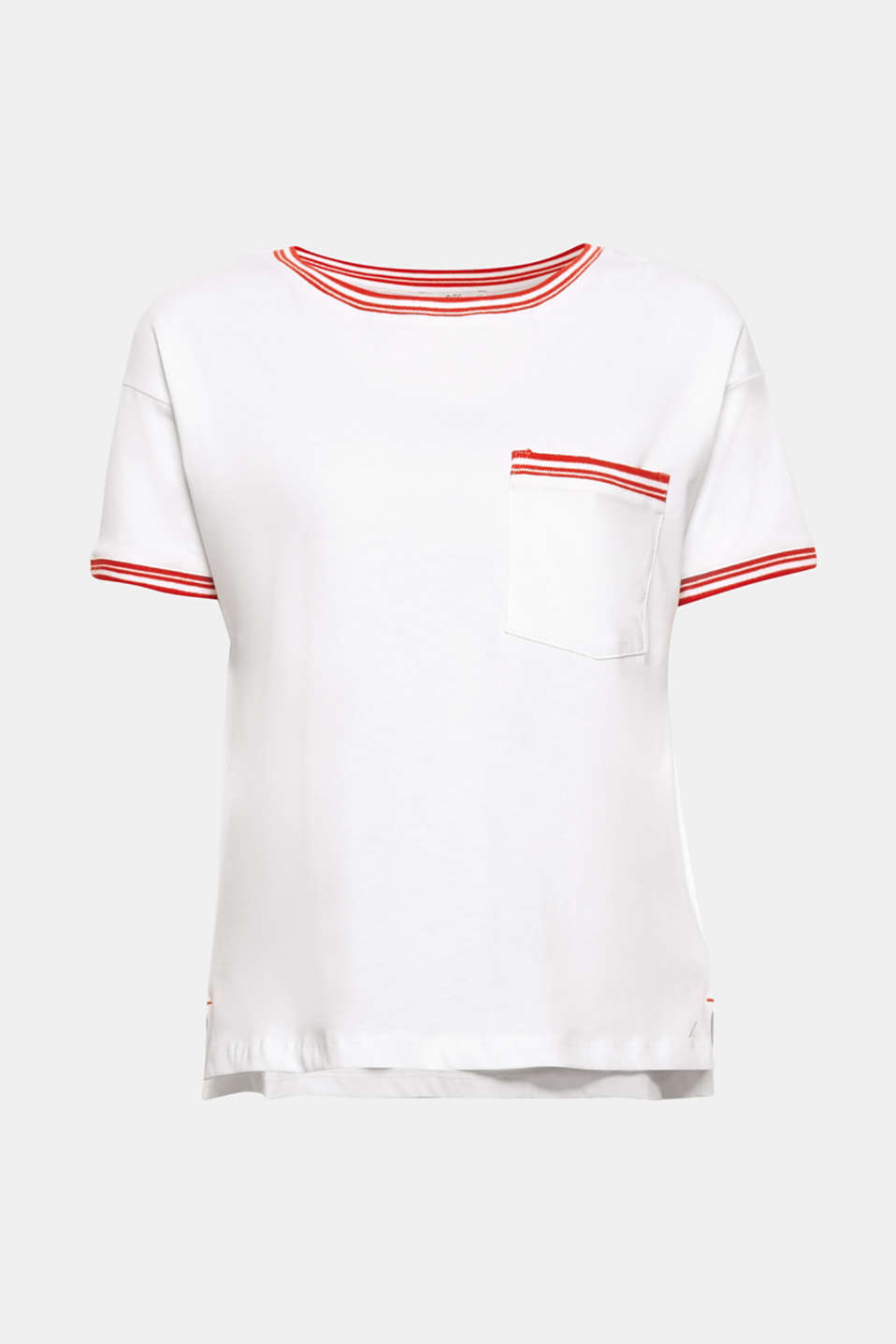 A sporty oversized look with retro appeal! The striped ribbed trims make this boxy T-shirt a real eye-catcher.