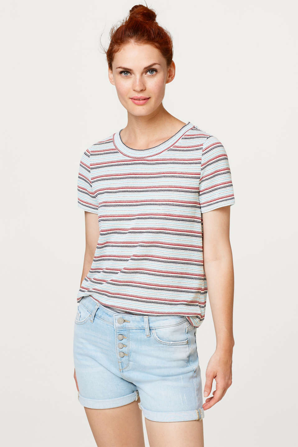 edc - Soft T-shirt with jacquard stripes