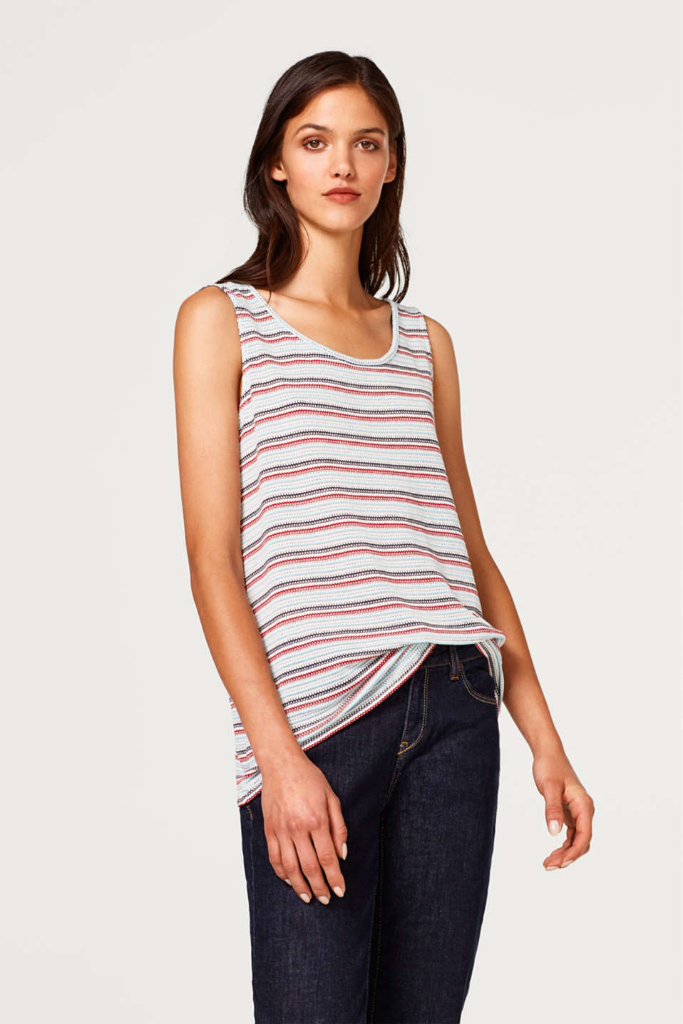 edc - Soft jersey top with jacquard stripes