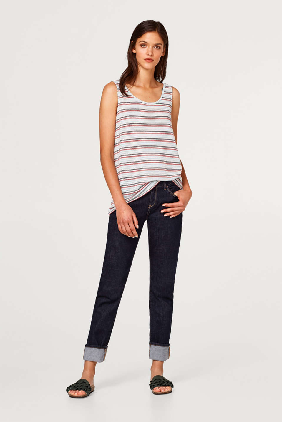 Soft jersey top with jacquard stripes