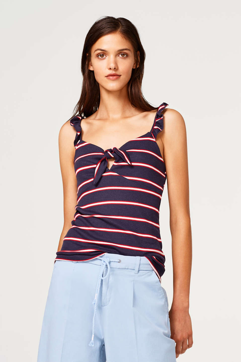 edc - Striped strappy top made of ribbed jersey