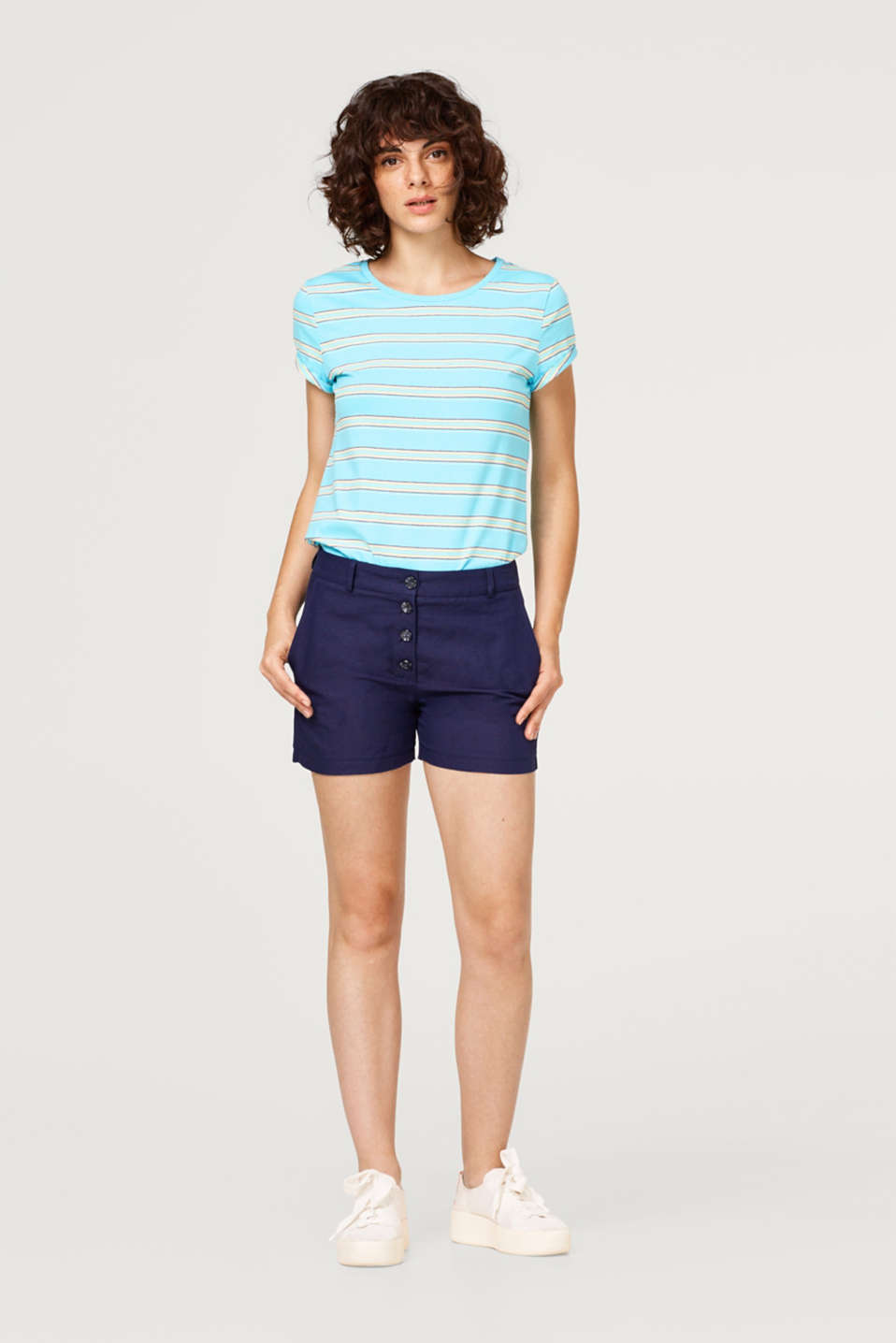 Top with stripes made of stretch cotton