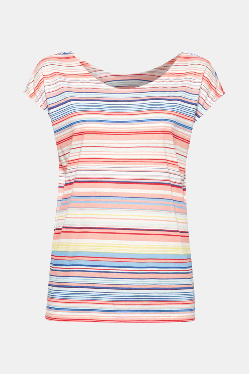 A fresh design with pretty details: This soft top is blended cotton is a colourful styling hit with its striped look and bow at the back!