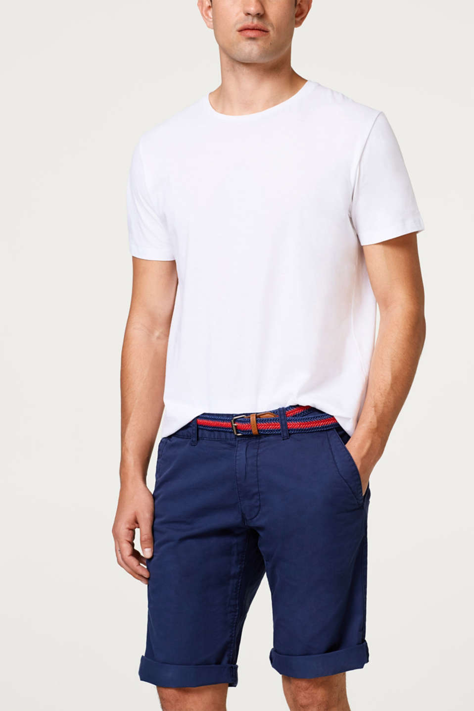 edc - Cotton chino shorts plus woven belt