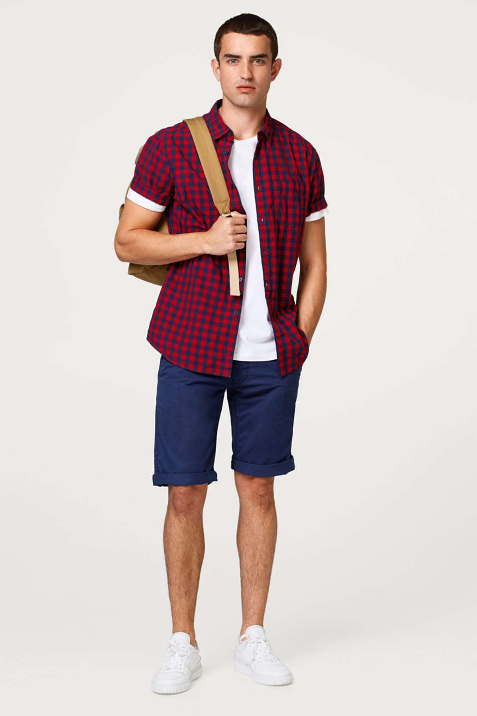 Cotton chino shorts plus woven belt