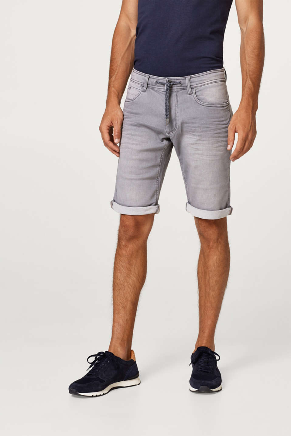 edc - Super stretch denim shorts with a drawstring waist