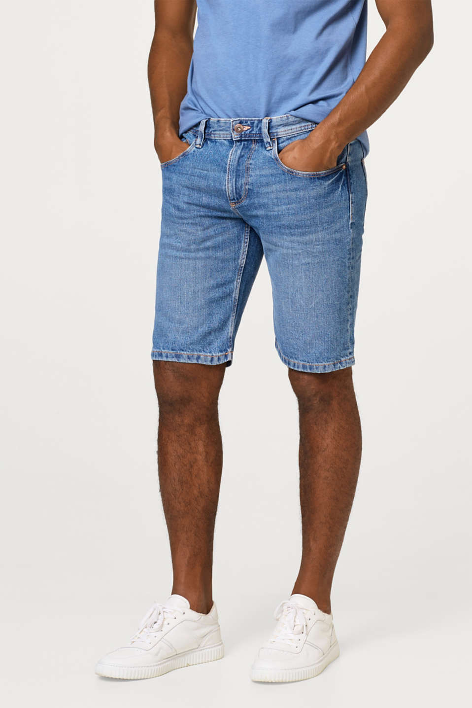 edc - Stretch-Jeansshorts mit Washed-Out-Effekt