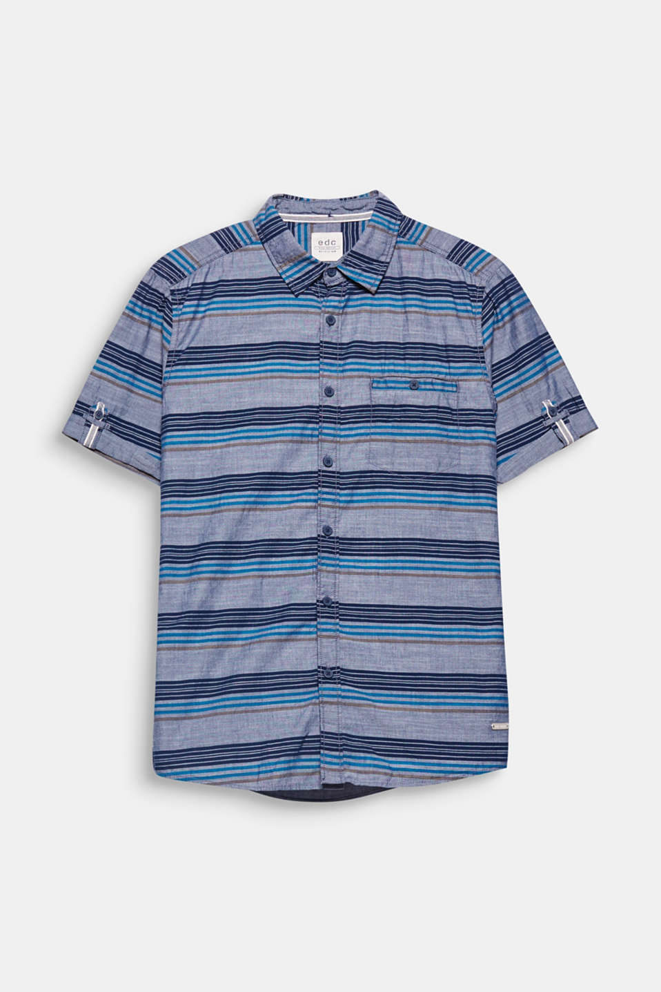 Slightly mottled chambray fabric with tonal stripes give this shirt a summery flair.