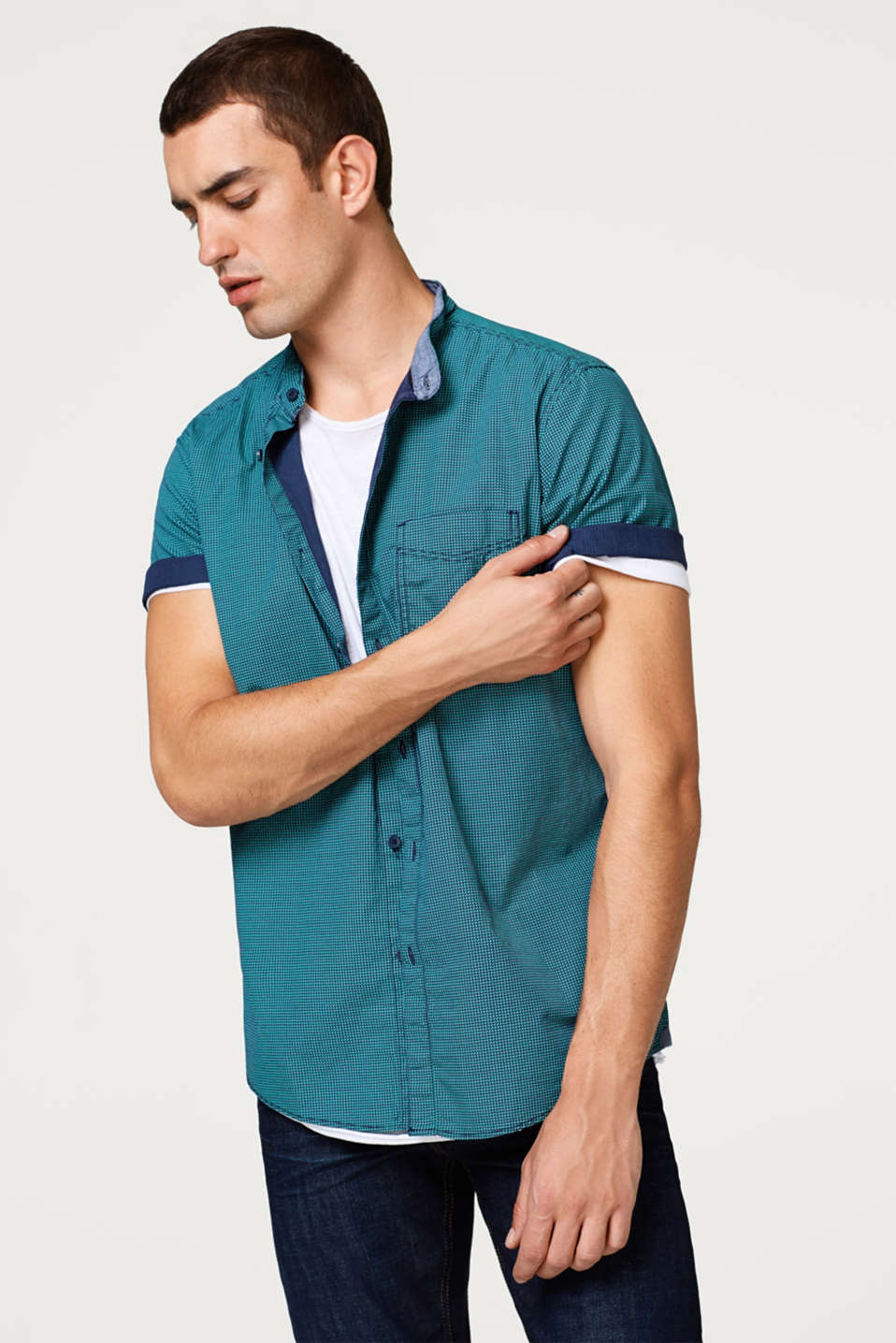 edc - Short sleeve shirt with a geometric all-over print