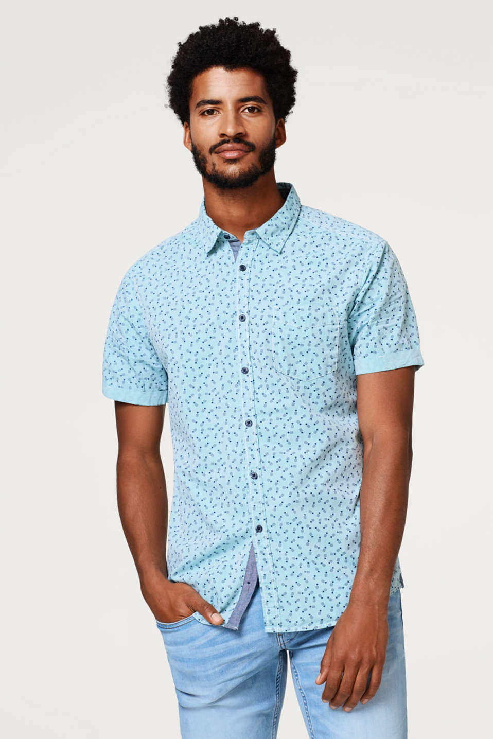 edc - Short sleeve shirt with a stylised pineapple print