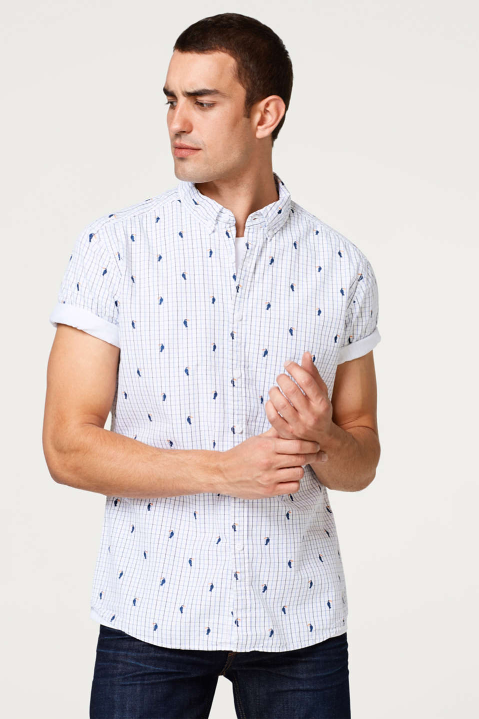 edc - Short sleeve shirt with a toucan print, in cotton