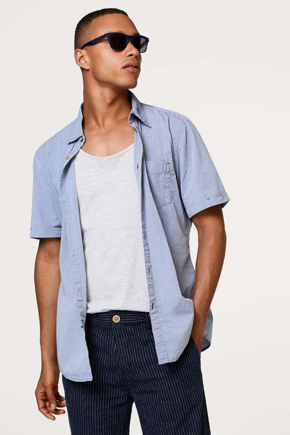 edc - Casual short sleeve shirt composed of cotton chambray