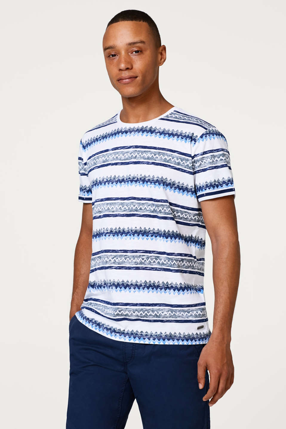 edc - T-shirt with a zigzag pattern, in slub jersey