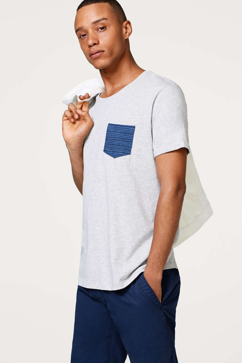 edc - Jersey T-shirt with an accentuated breast pocket