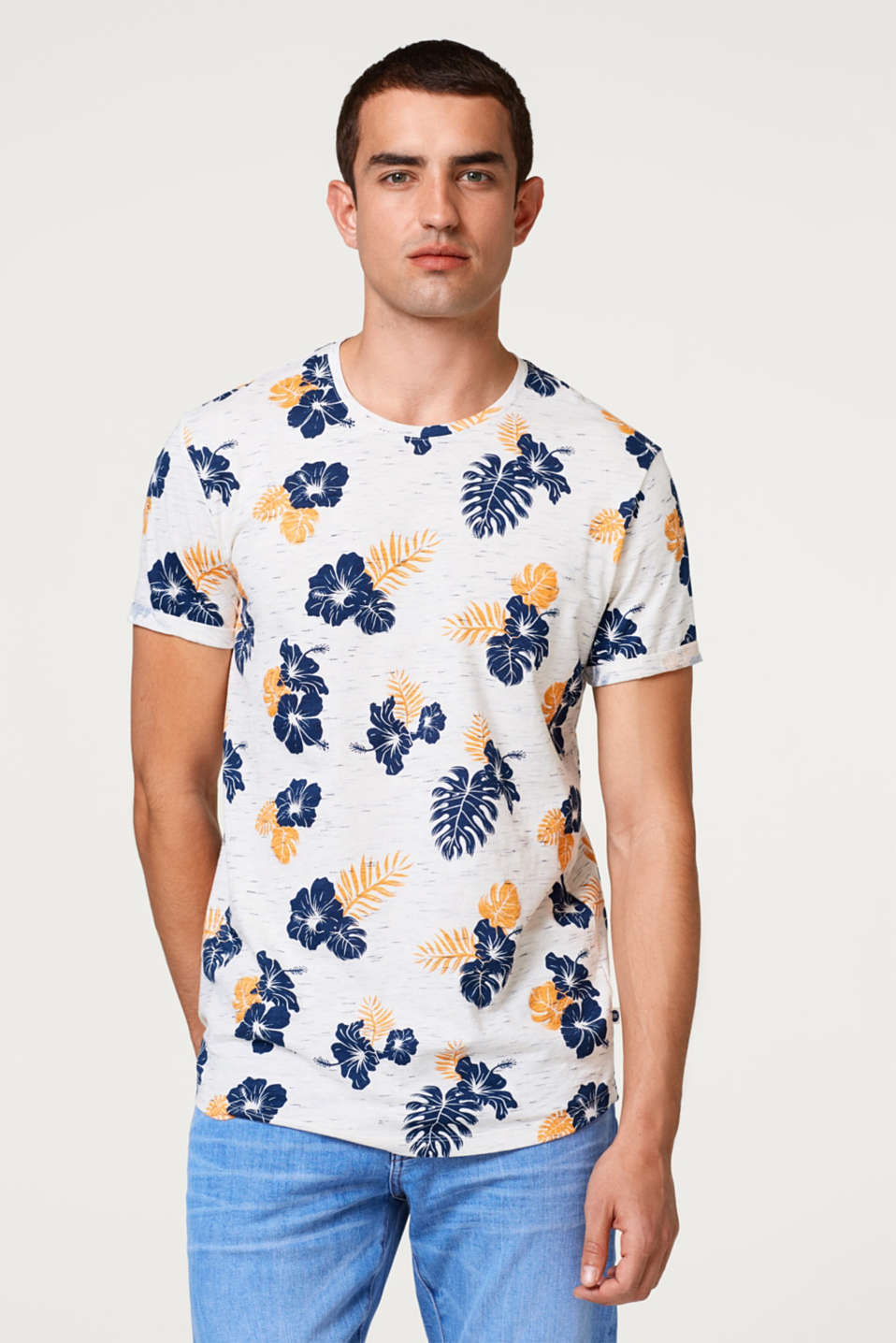 edc - Slub jersey T-shirt with a floral print