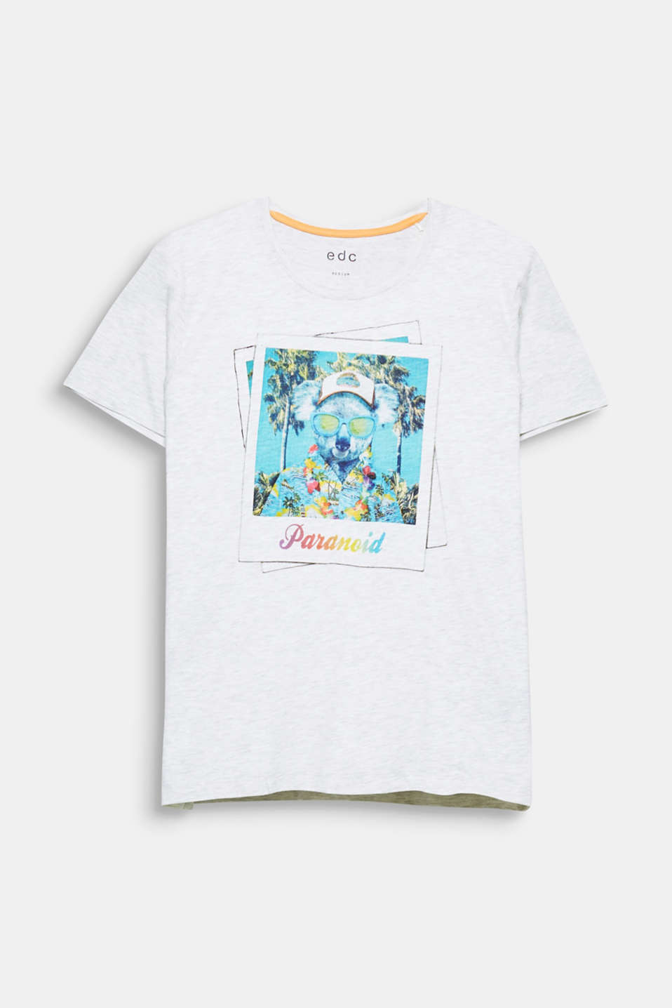 The colourful photo print makes this T-shirt in melange jersey extremely eye-catching.
