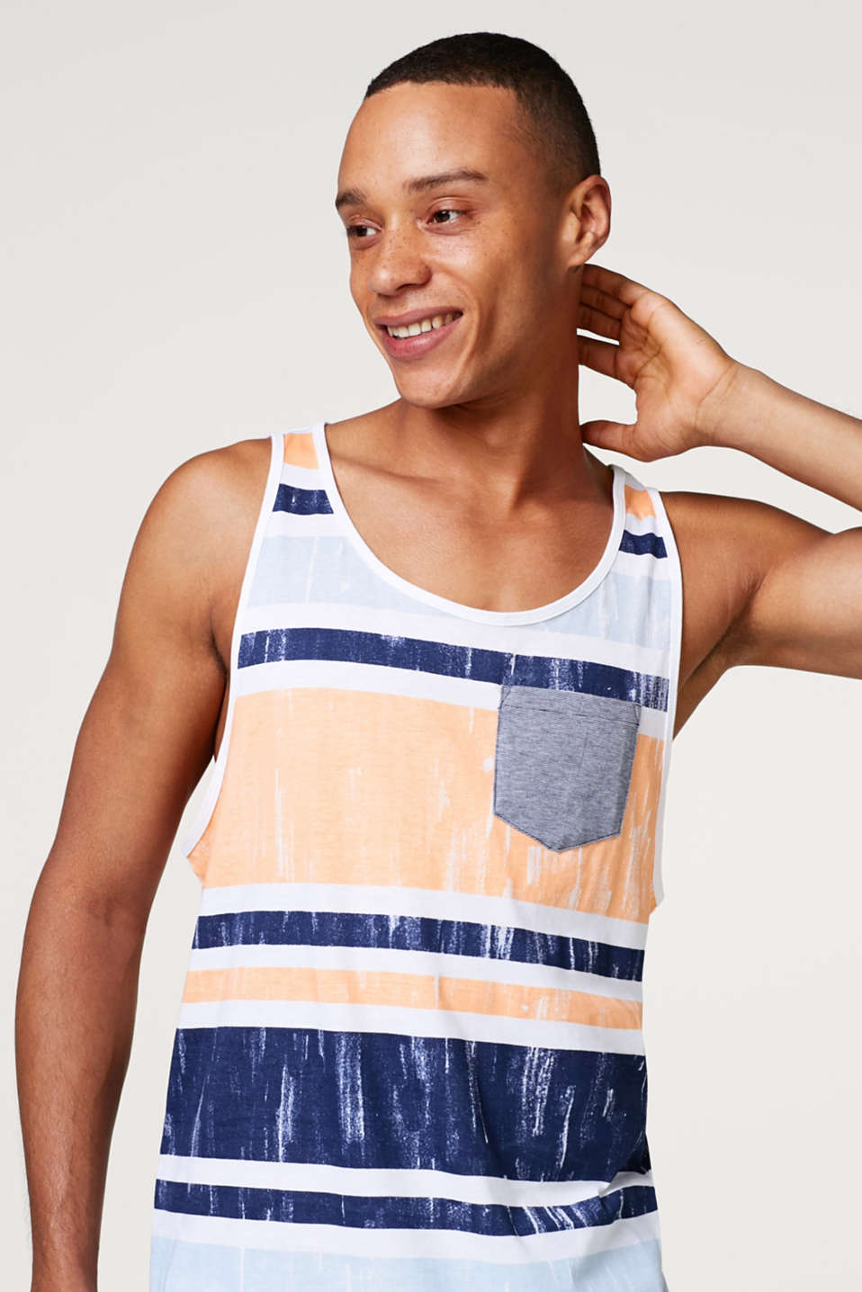 edc - Jersey vest top with bold stripes
