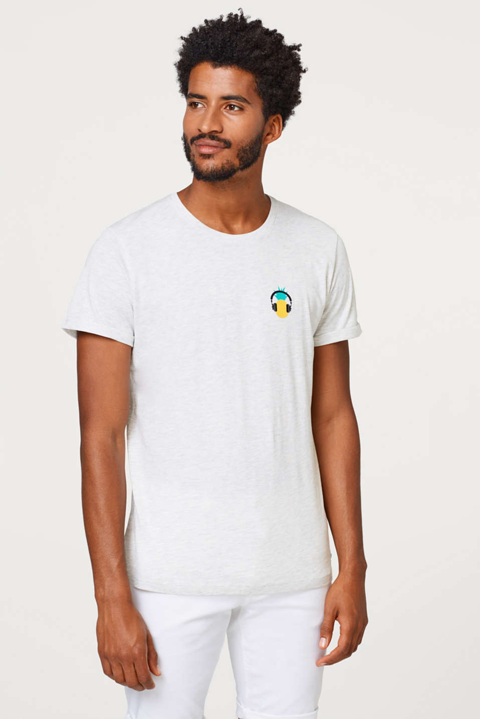 edc - Melange jersey T-shirt with a small front print