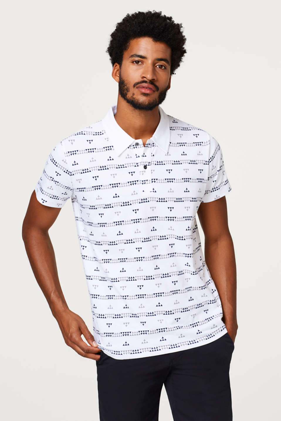 edc - Jersey polo shirt with a tribal print, in cotton