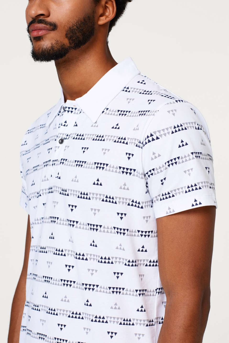 Jersey polo shirt with a tribal print, in cotton