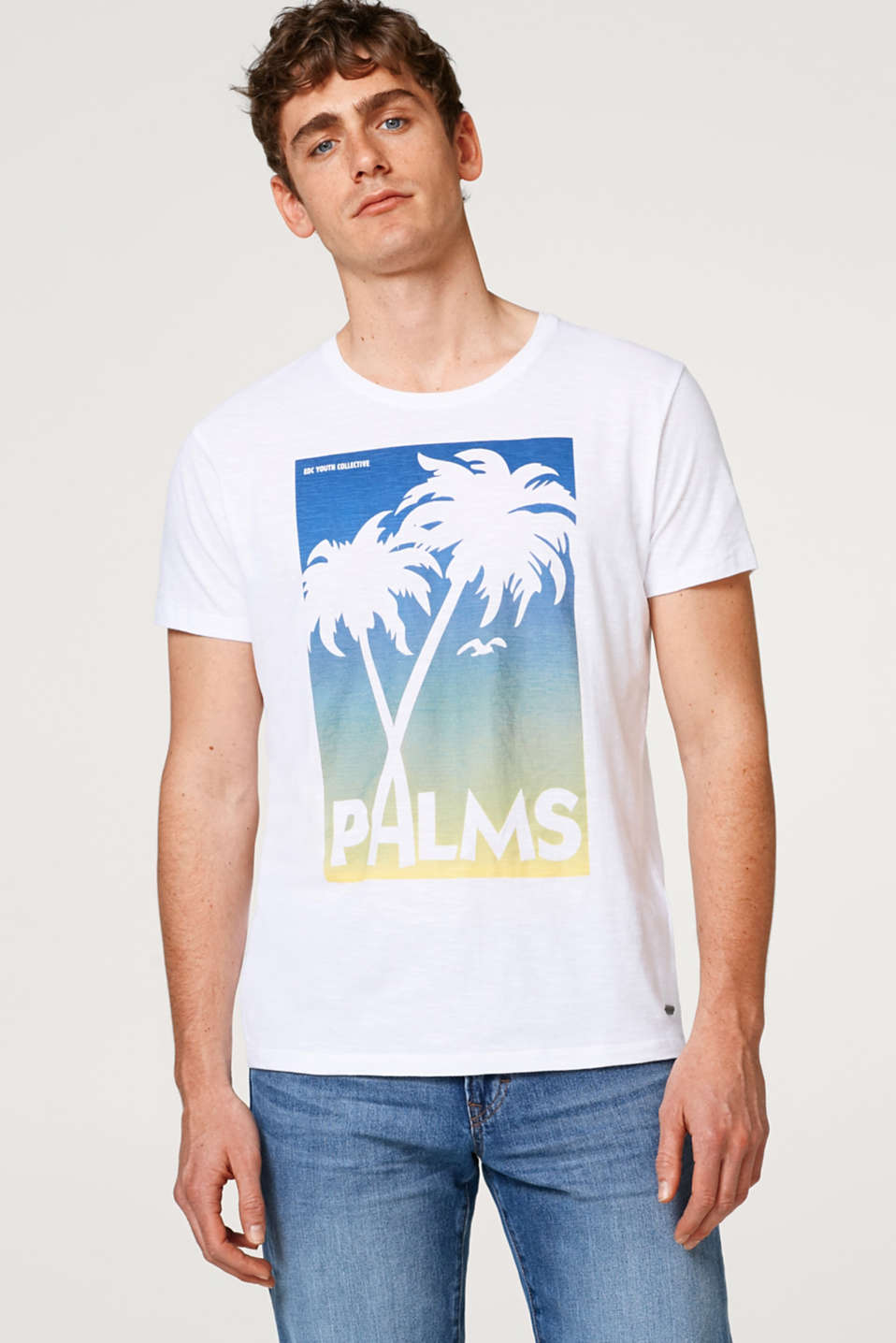 edc - T-shirt with a palm-tree print, made of slub jersey