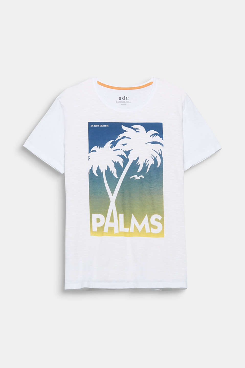 The postcard print with a palm tree motif gives this cotton T-shirt a nostalgic holiday feeling.