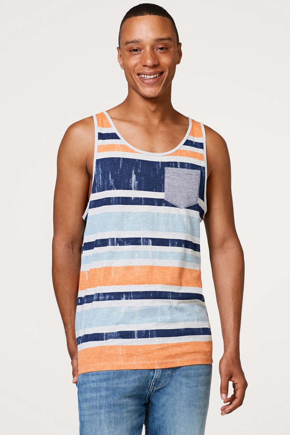 edc - Jersey vest top with colourful stripes