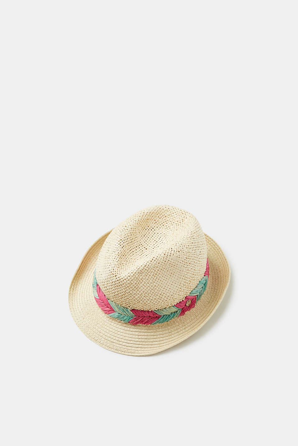 Esprit - Straw trilby hat with a colourful woven hatband