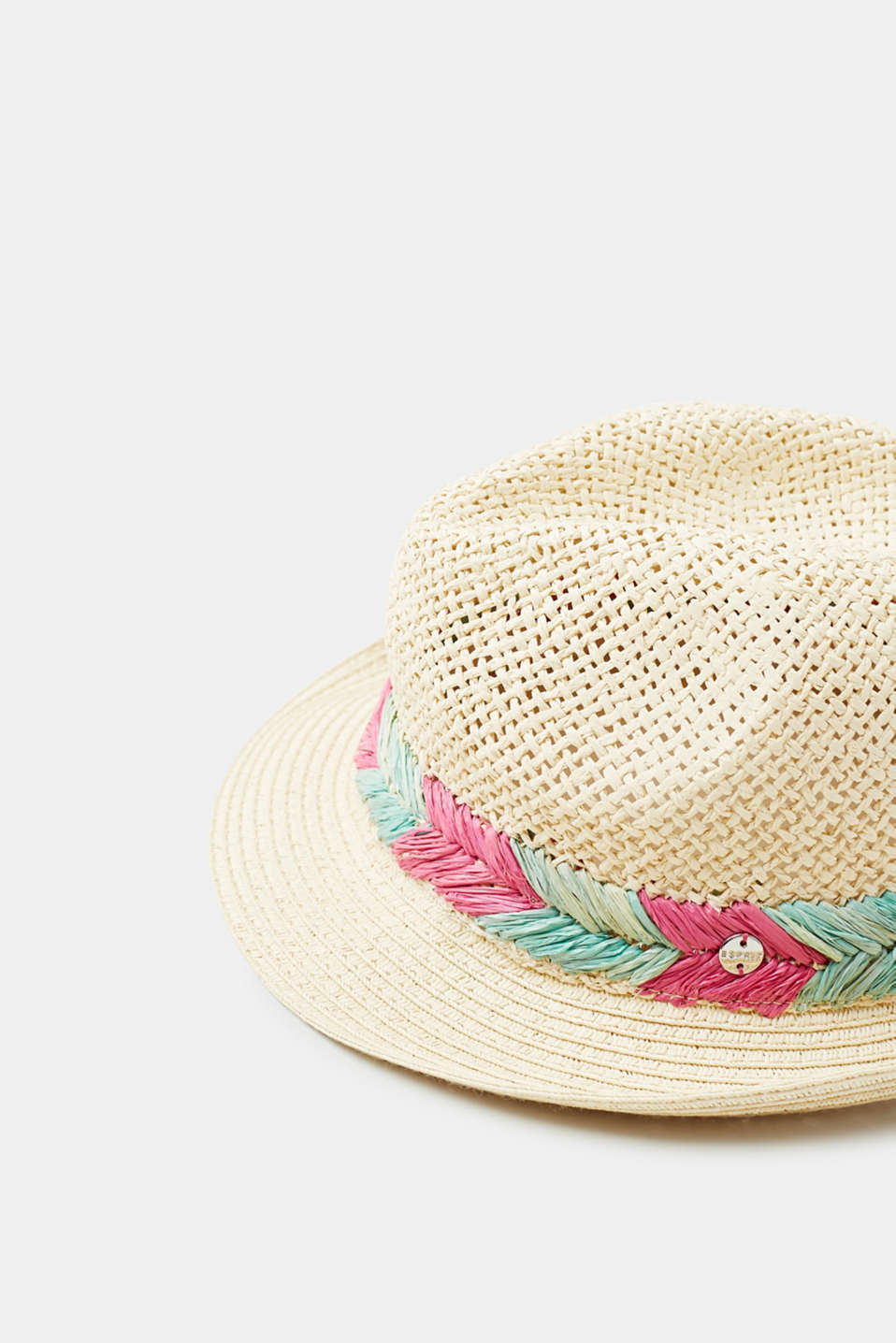 Straw trilby hat with a colourful woven hatband