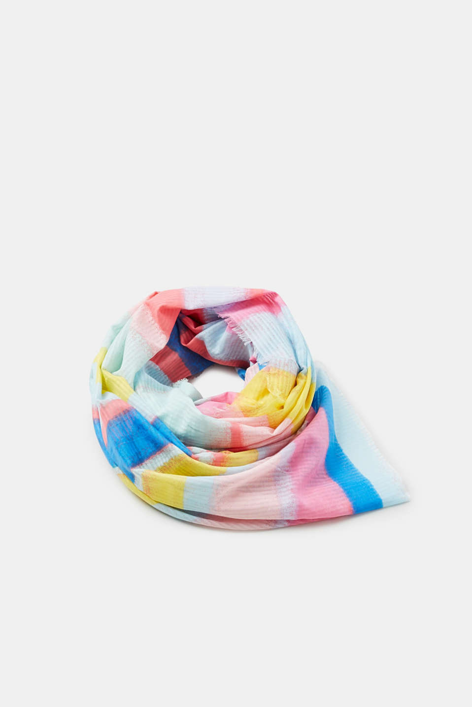 Esprit - Fine cotton scarf with multi-coloured stripes