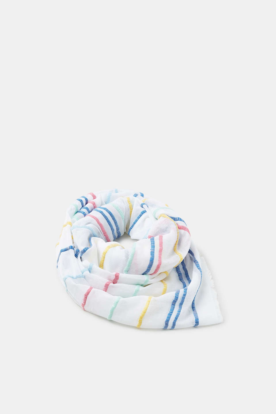 Esprit - Woven scarf with a mix of textures and bright stripes