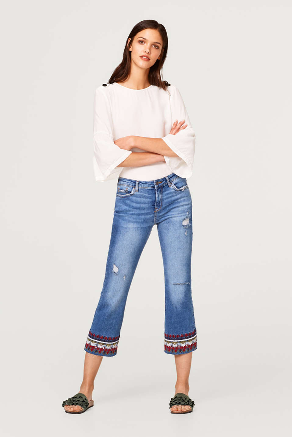 Esprit - Flared stretch jeans with ethnic embroidery