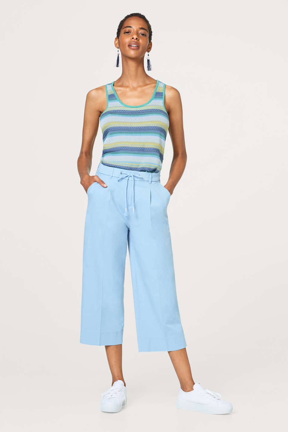 Esprit - Culottes in washed blended cotton