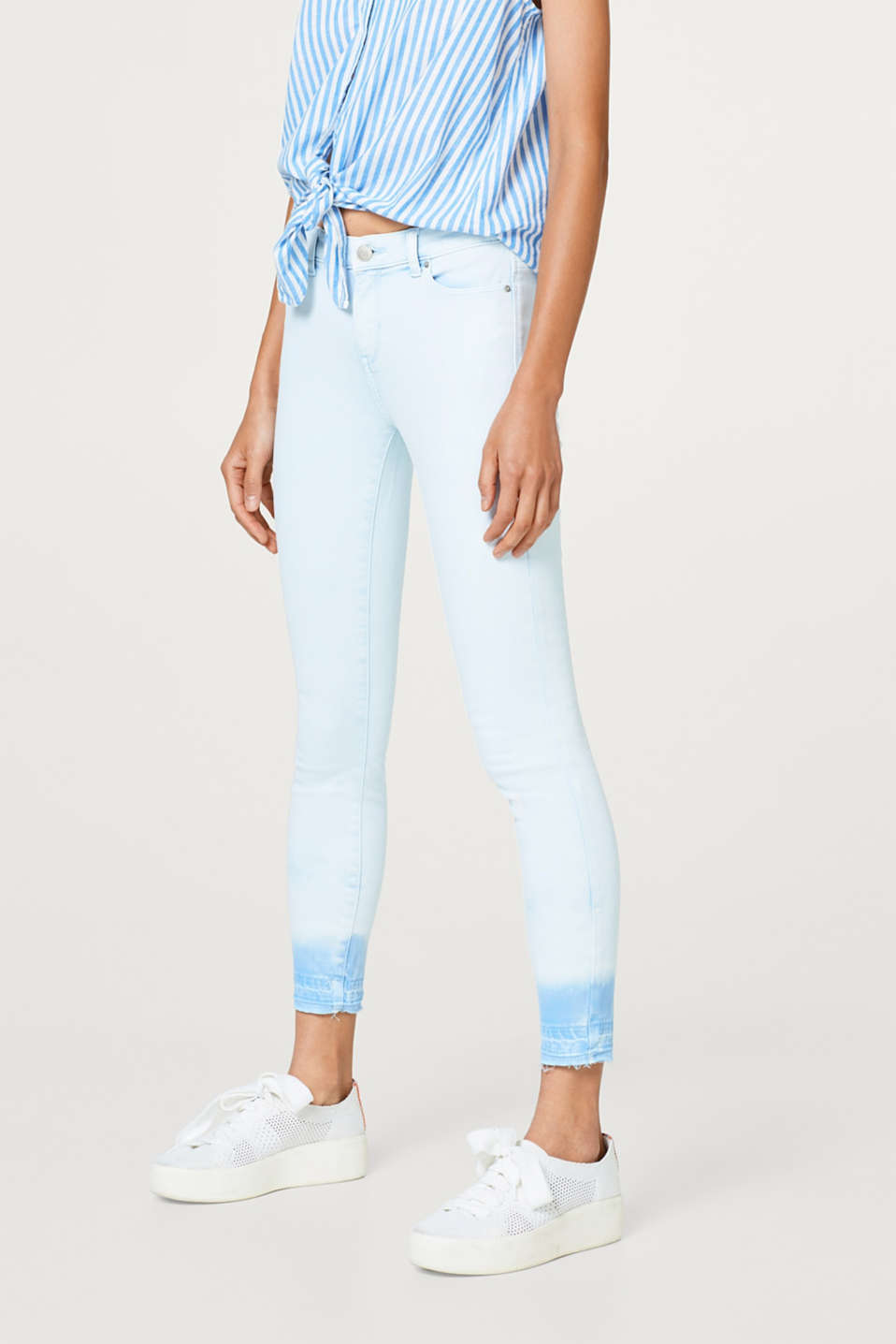 Esprit - Cropped super stretch jeans with unfinished hems