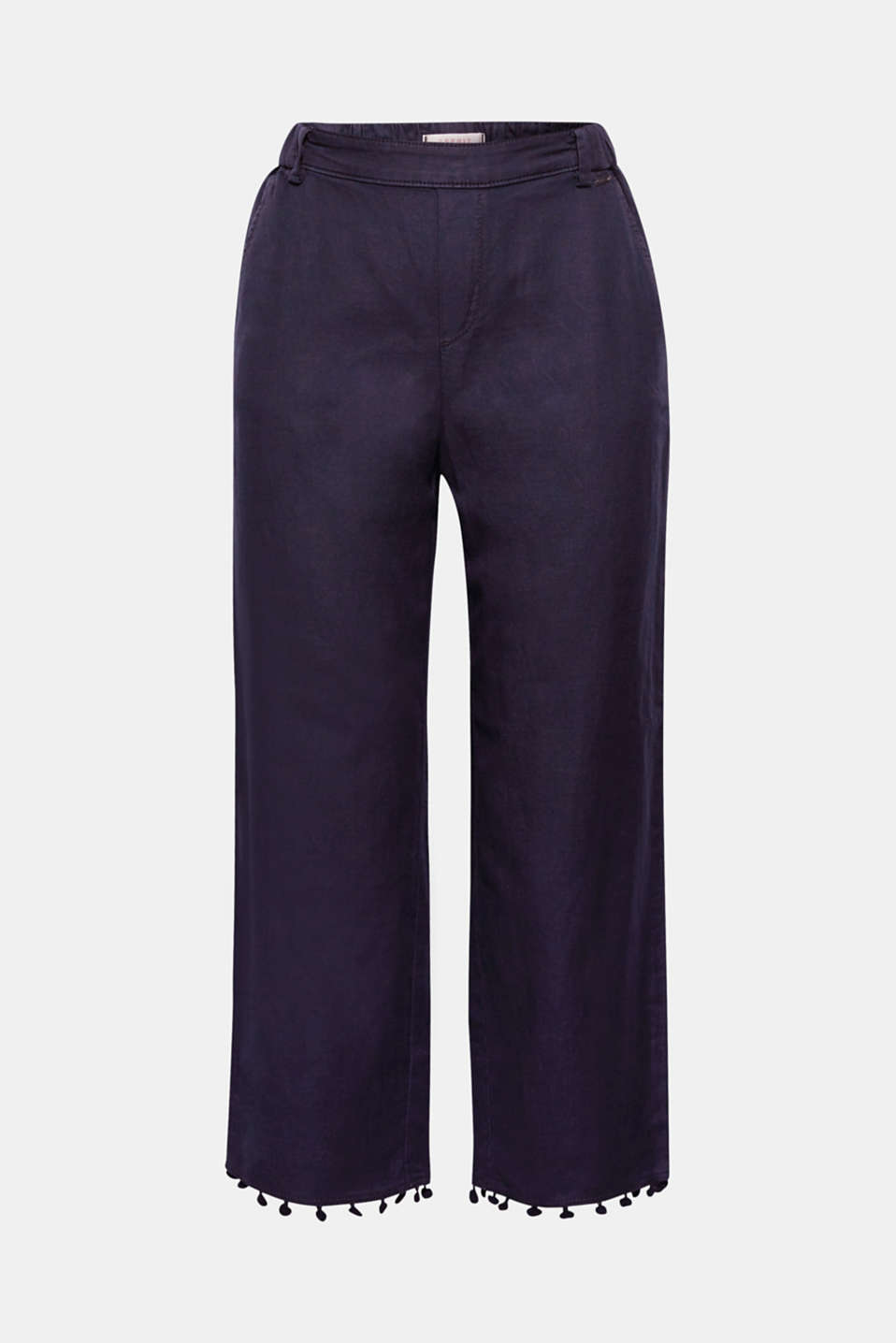 The small pompoms on the leg hems of these wide, cropped-leg chinos are cheerful and trendy!