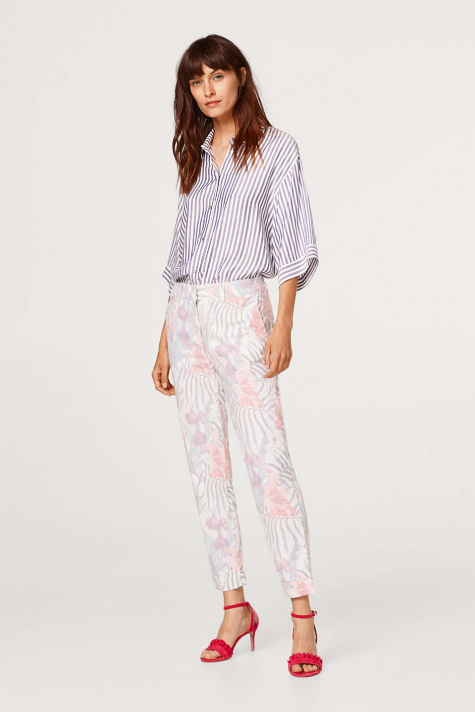 Esprit - Stretch trousers with washed print