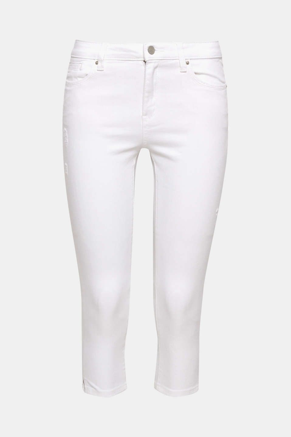 Our summer fave: fantastic-fitting Capri jeans made of comfy and stretchy, pure white denim.