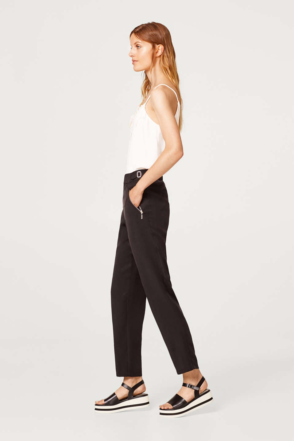 Esprit - Lyocell trousers with decorative buckles