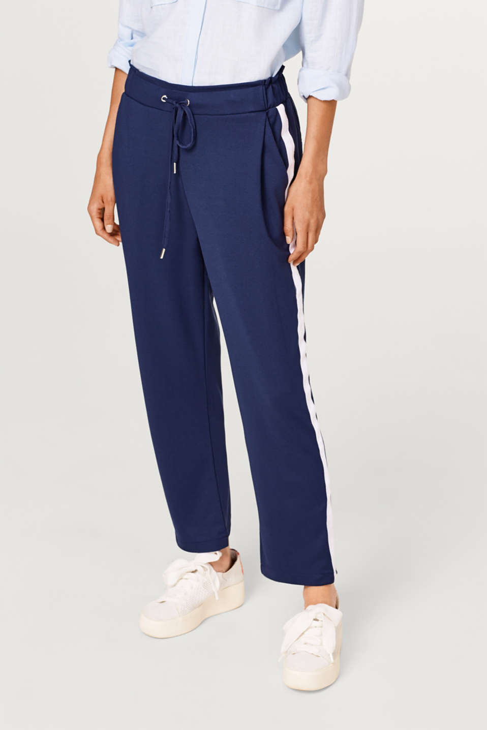 Esprit - Stretch jersey tracksuit bottoms with racing stripes