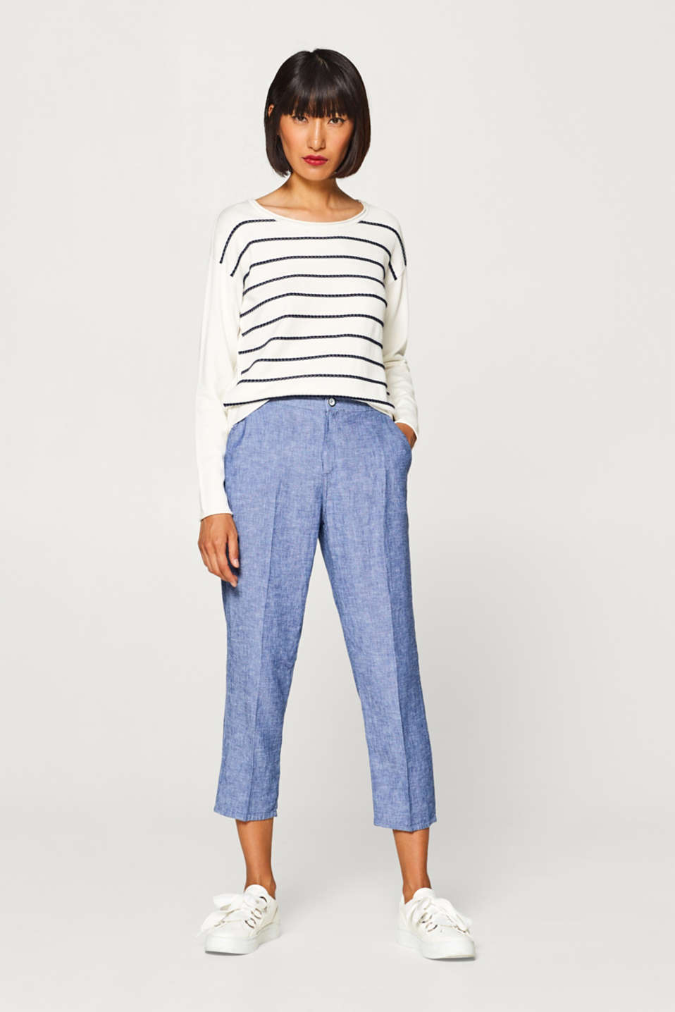 Esprit - Cropped chinos in blended linen