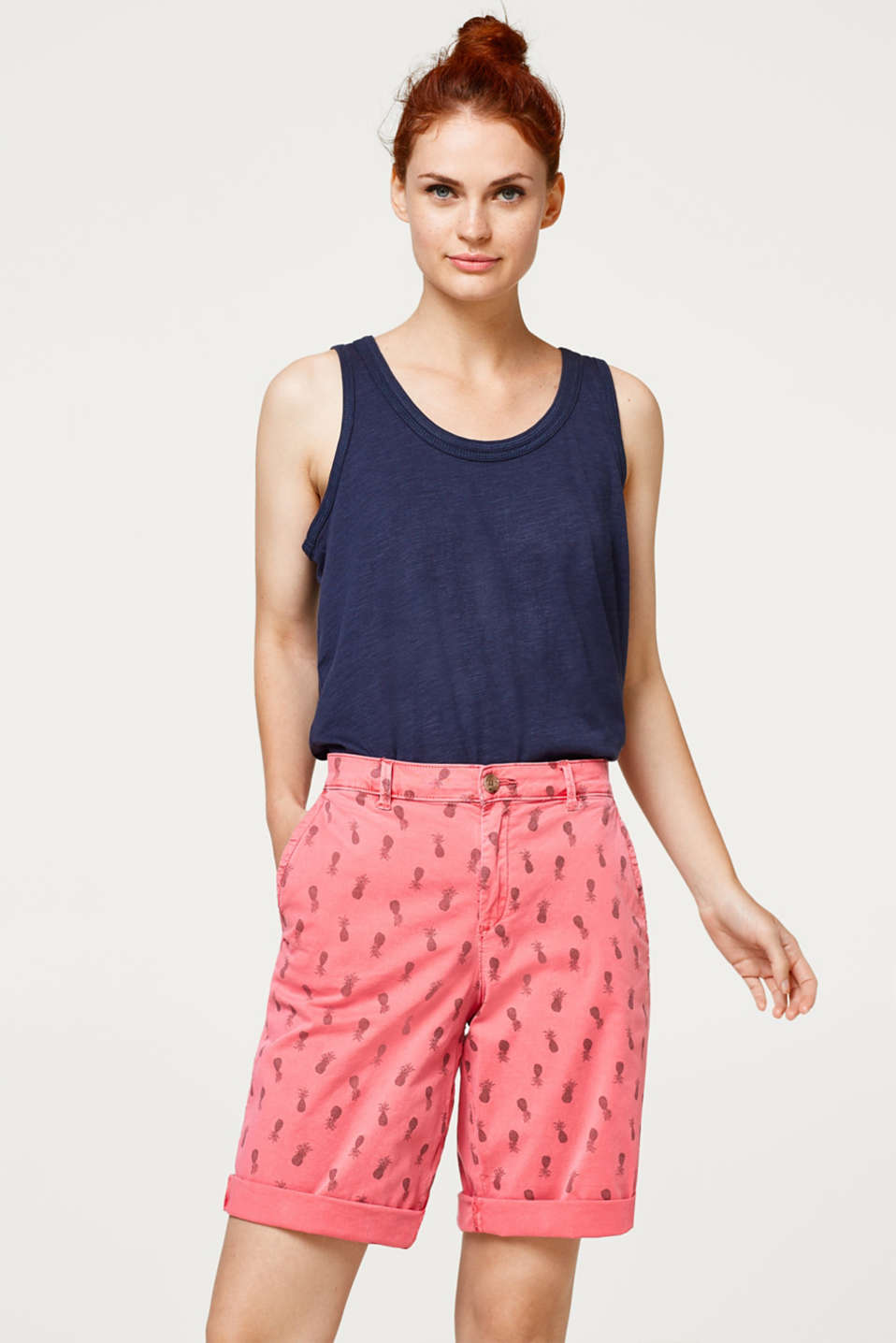 Esprit - Printed Bermuda shorts in stretch cotton