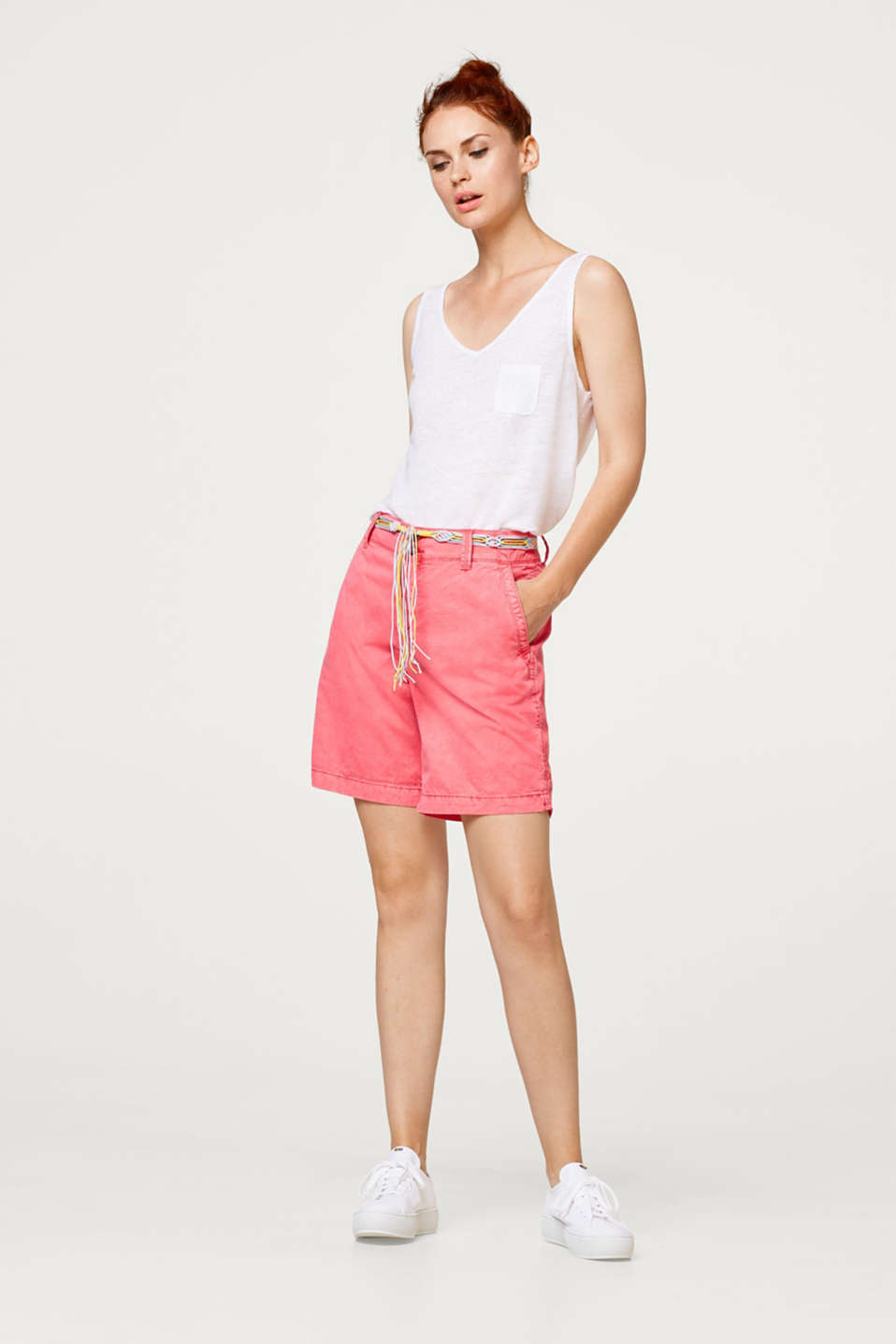 Esprit - Washed shorts with belt, 100% cotton